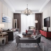 E户型中式客厅