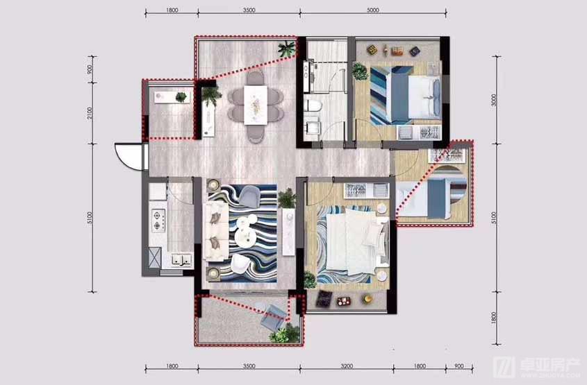 A2户型2室2厅88平.jpg